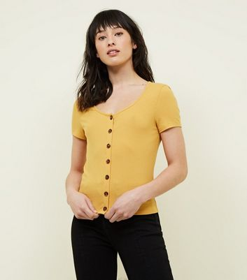 Yellow Button Front Ribbed T-Shirt