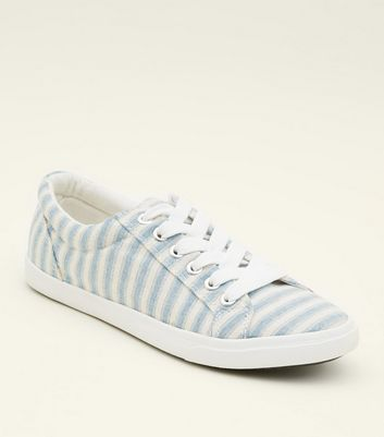 Girls Blue Canvas Stripe Lace Up Trainers