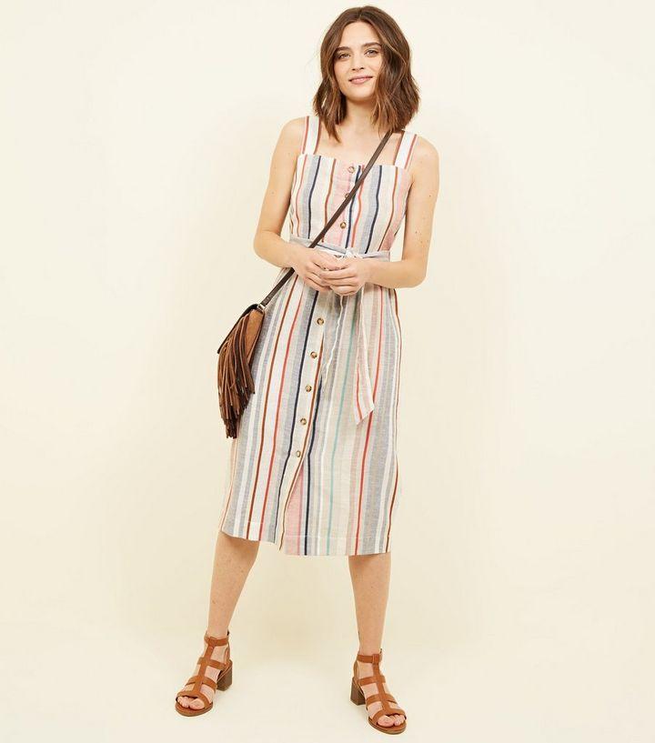 fffa0965604f Off White Stripe Linen-Look Button Up Midi Dress