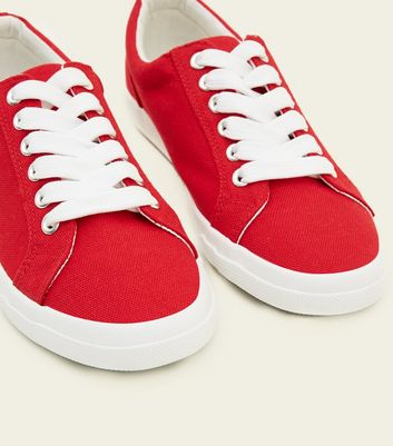 Teens Red Canvas Lace Up Trainers New Look
