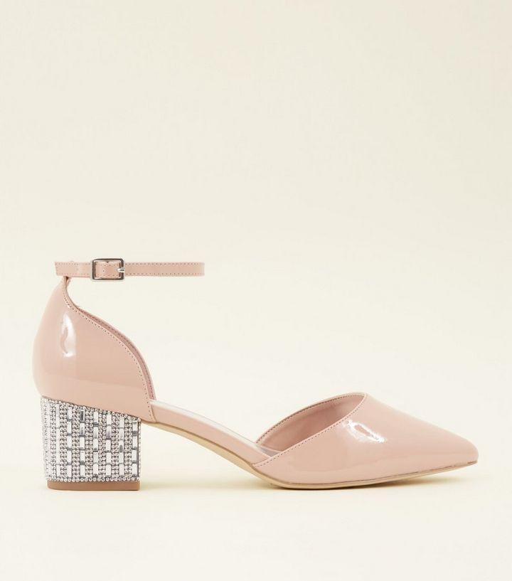 8b14fc616f5 Wide Fit Nude Patent Diamanté Embellished Block Heels