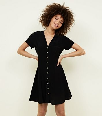 Black V Neck Button Front Tea Dress