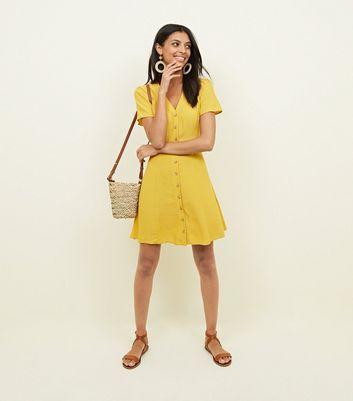 Mustard Yellow Button Front Tea Dress New Look