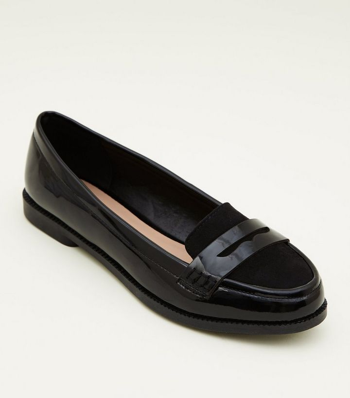 b8218425d501 Girls Black Patent Suedette Trim Loafers