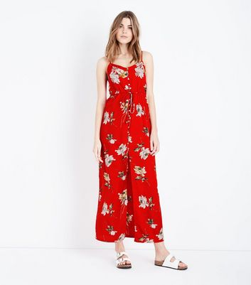 Cameo Rose Red Floral Print Button Front Maxi Dress