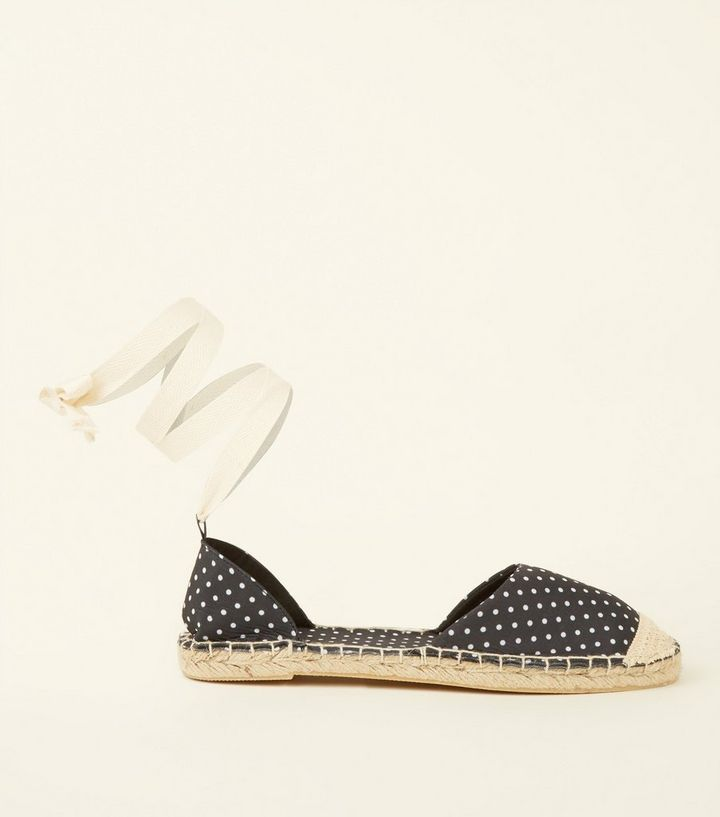 907ab4b9ecc Black Canvas Spot Print Ankle Tie Espadrilles Add to Saved Items Remove  from Saved Items