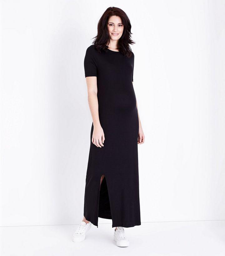 351a1feaf3aa9 Maternity Black Side Split Jersey Maxi Dress   New Look