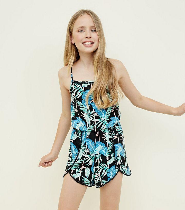 aec85230035 Teens Black Tropical Print Beach Playsuit
