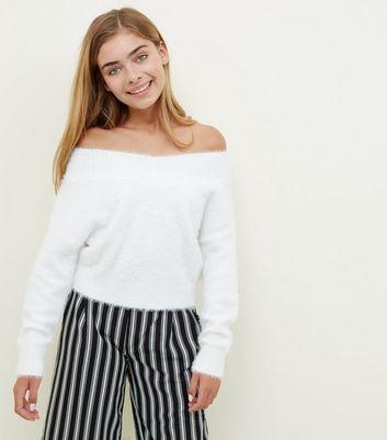 Girls Cream Fluffy V Bardot Neck Jumper New Look