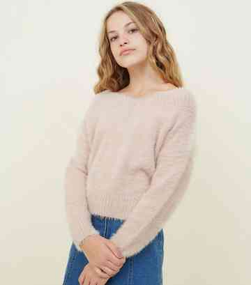 Girls Pale Pink Fluffy V Bardot Neck Jumper