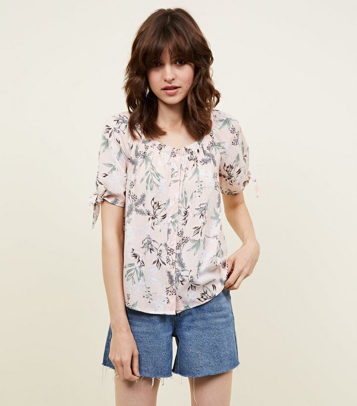 1ec961145f69f Pink Floral Button Front Tie Sleeve Top