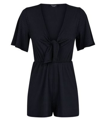 Petite Black Ribbed Tie Front Playsuit New Look
