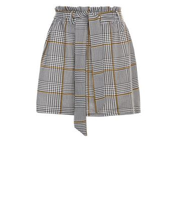 Petite Black Check Paperbag Waist Skirt New Look