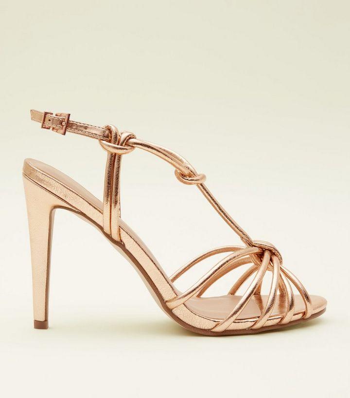 b9a7868c8ca8bb Rose Gold Metallic Knot Strap Stiletto Sandals