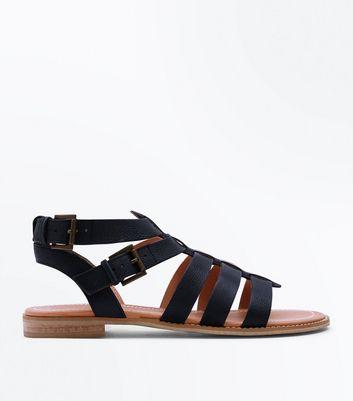 Black Leather Gladiator Sandals   New Look