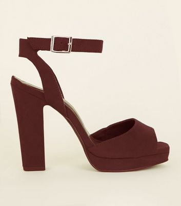 Dark Red Suedette Square Peep Toe Platform Sandals