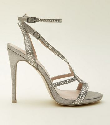Pewter Gem Studded Stiletto Sandals