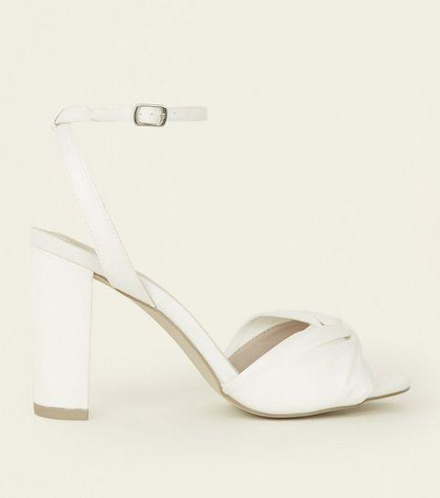 Wedding shoes wedding sandals heels new look off white satin knot strap wedding sandals junglespirit Choice Image