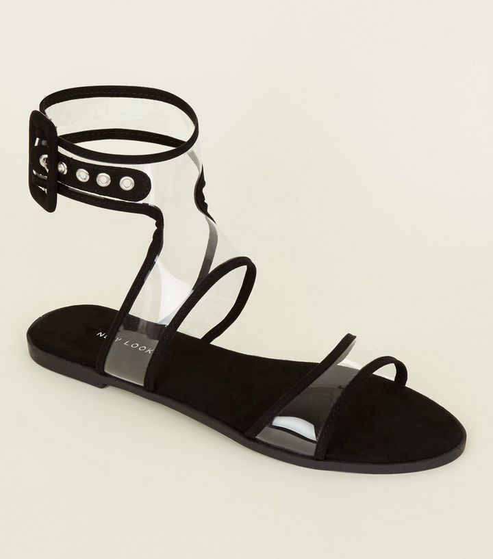 e3757be9f99 Black Clear Ankle Strap Flat Sandals