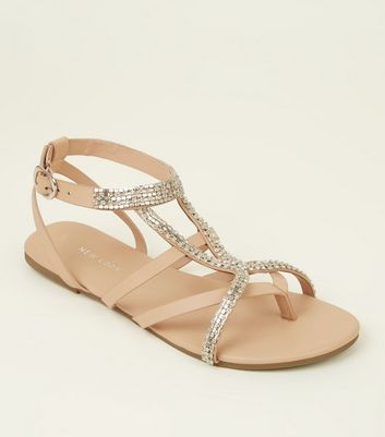 Nude Diamanté Embellished Strappy Flat Sandals