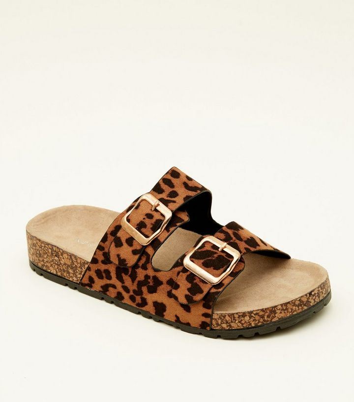 6417b2f24139 Tan Leopard Print Double Buckle Footbed Sandals | New Look