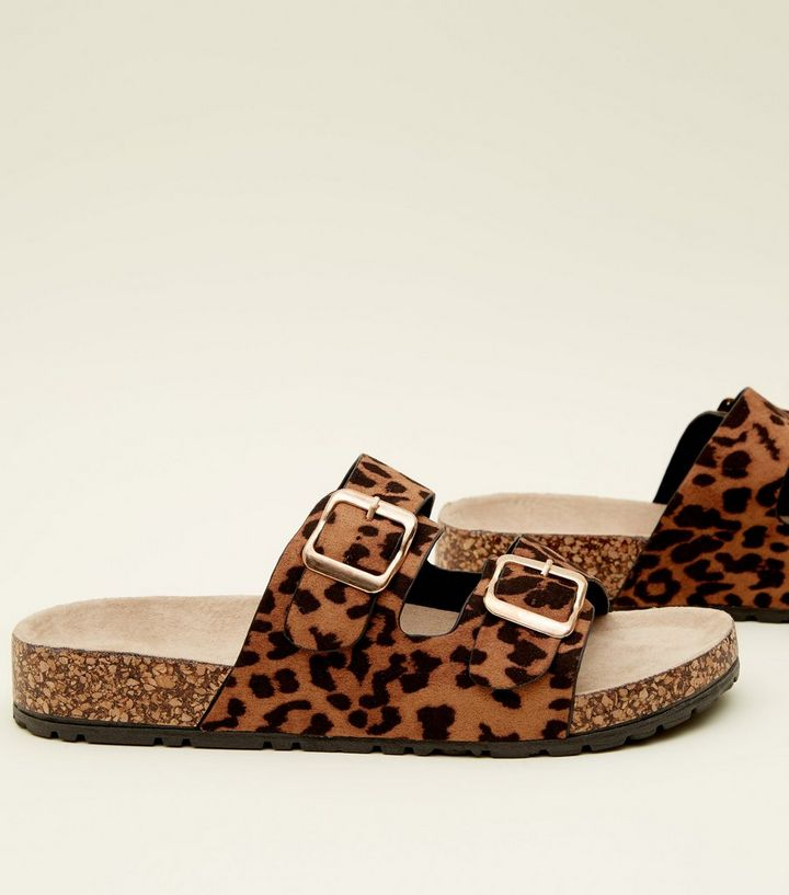 9ad2fbbc7fb0 ... Tan Leopard Print Double Buckle Footbed Sandals. ×. ×. ×. Shop the look