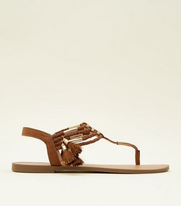 Tan Metal and Tassel Trim Flat Sandals