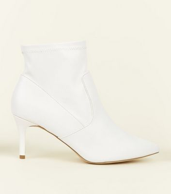 Wide Fit White Leather-Look Stiletto Sock Boots