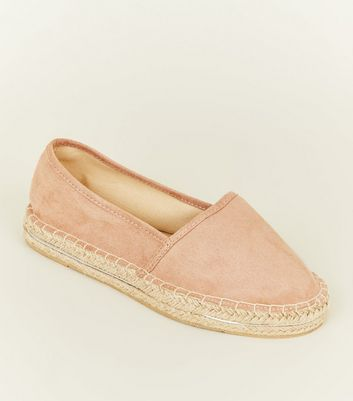 Wide Fit Nude Suedette Piped Trim Flatform Espadrilles