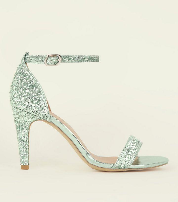 6904e81e0f4f Wide Fit Mint Green Glitter Ankle Strap Heels