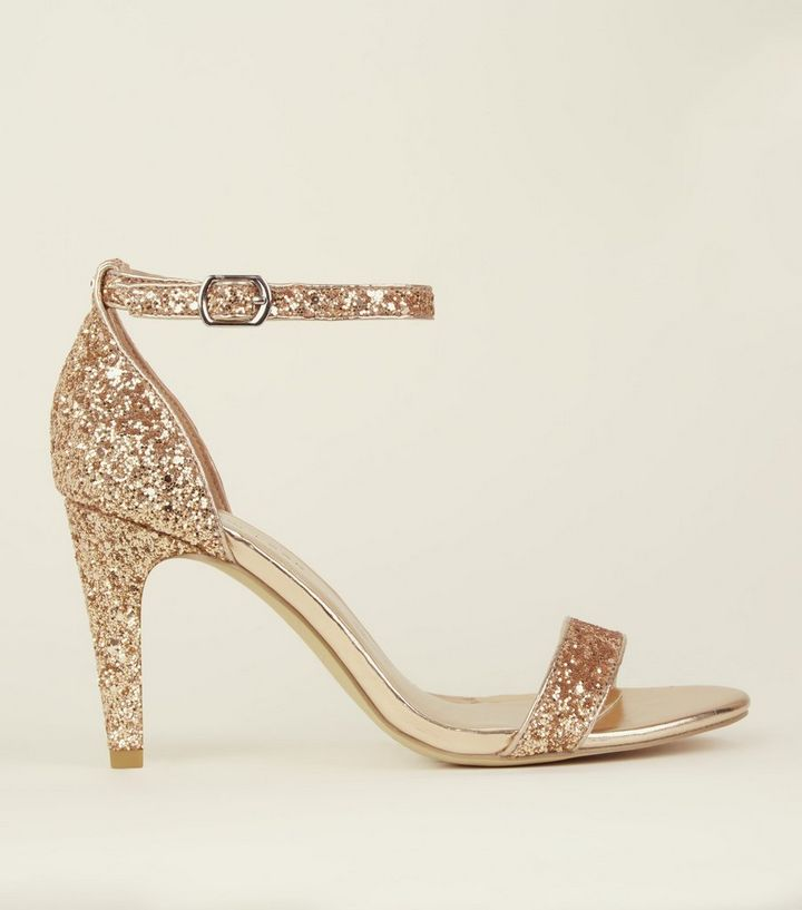 26f7353f5e Wide Fit Rose Gold Glitter Ankle Strap Heels | New Look