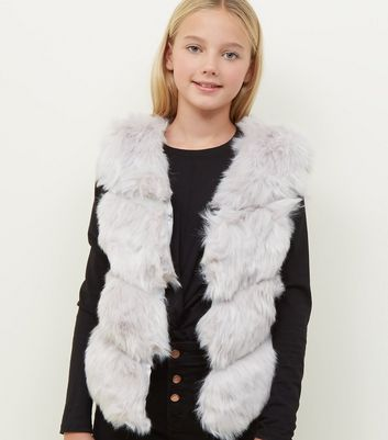 Girls Pale Grey Chevron Pelted Faux Fur Gilet