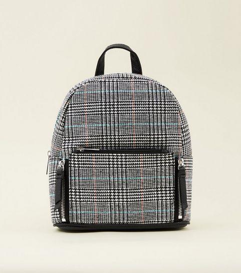 Black Check Mini Backpack