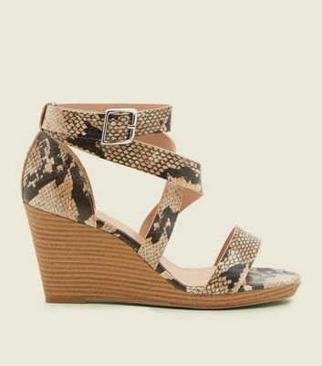 Wide Fit Brown Faux Snakeskin Strappy Wedges