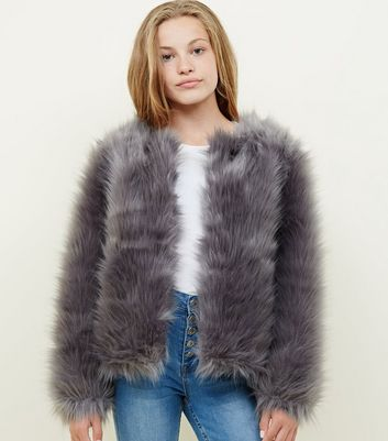 Girls Grey Faux Fur Jacket