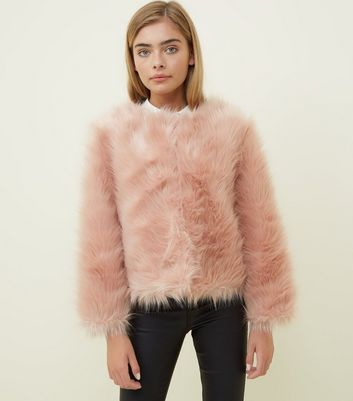 Girls Bright Pink Faux Fur Jacket