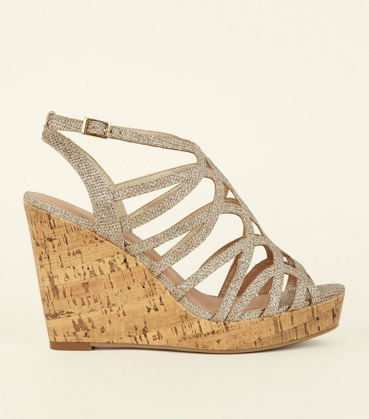 49e5ca2ddc5 Wide Fit Gold Glitter Strappy Platform Cork Wedges