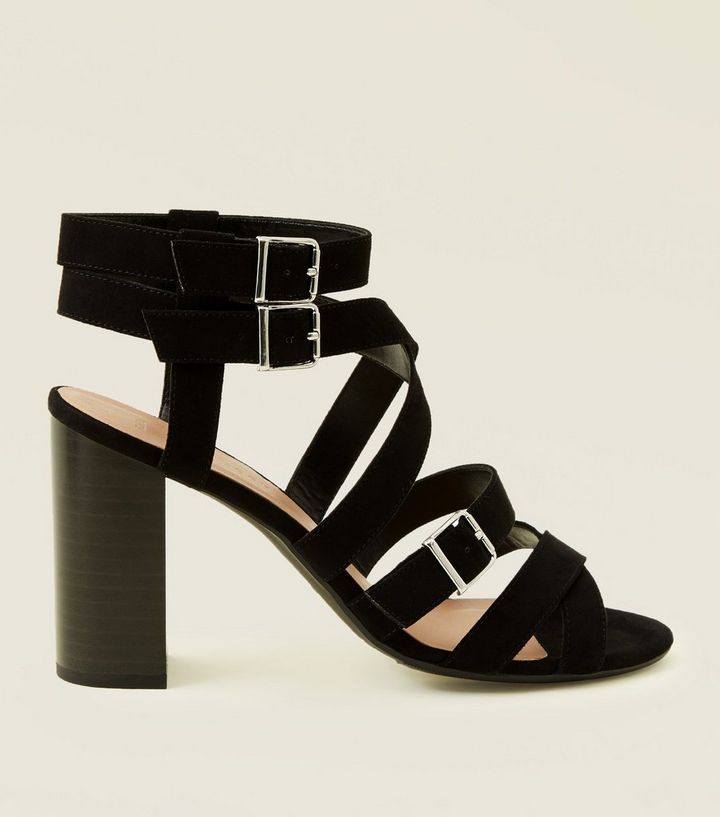 fa3ab92bb1 Wide Fit Black Suedette Strappy Heeled Sandals   New Look