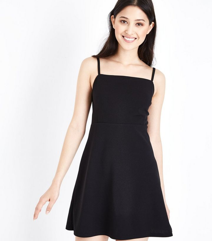 Petite Black Square Neck Skater Dress  80a226b56
