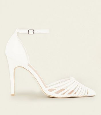 Wide Fit White Leather-Look Strappy Two Part Courts