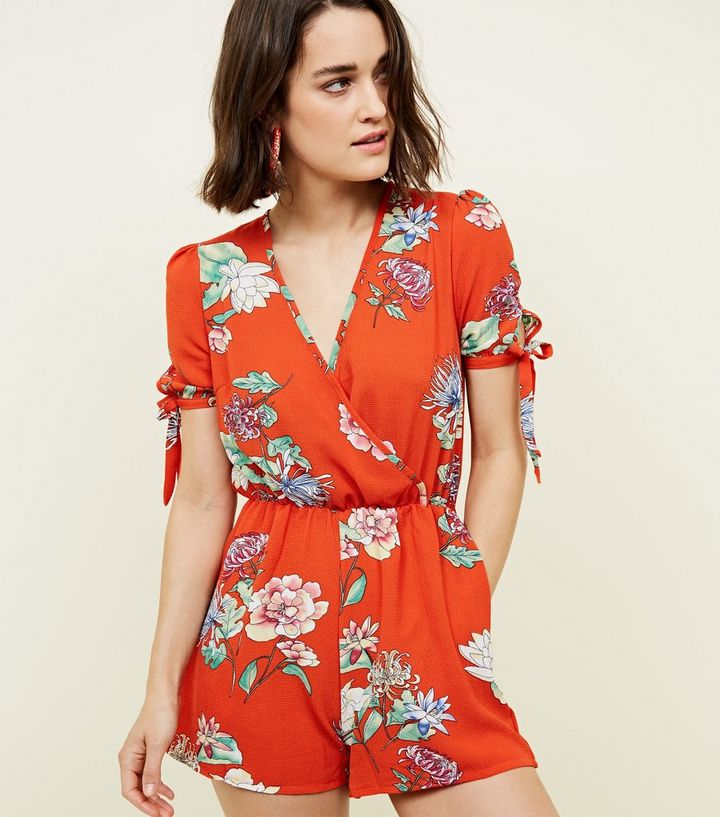 8650a702a0 QED Red Floral Wrap Front Playsuit