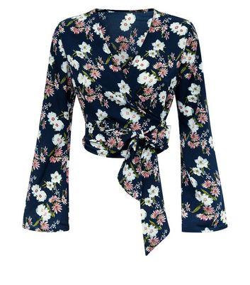 QED Navy Floral Wrap Tie Front Crop Top New Look