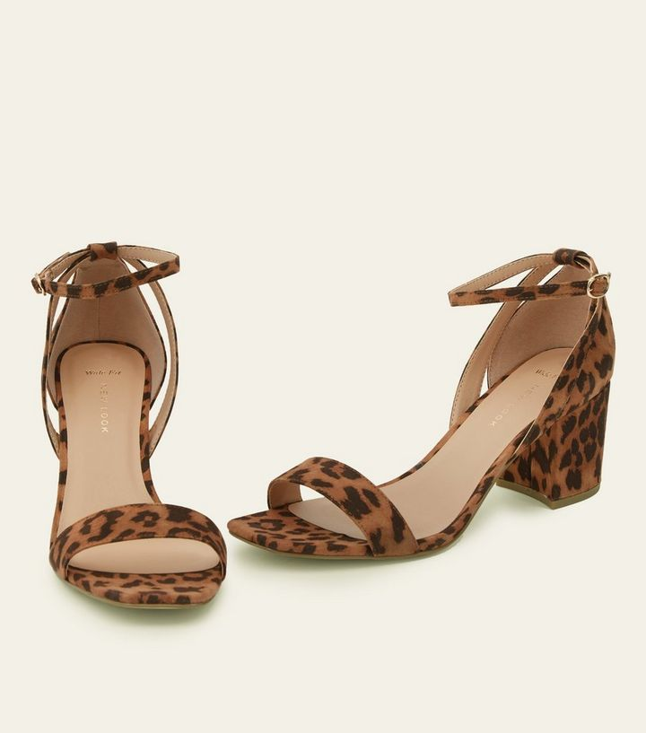 d3f0ae65bd4 Wide Fit Tan Leopard Print Block Heel Sandals Add to Saved Items Remove  from Saved Items