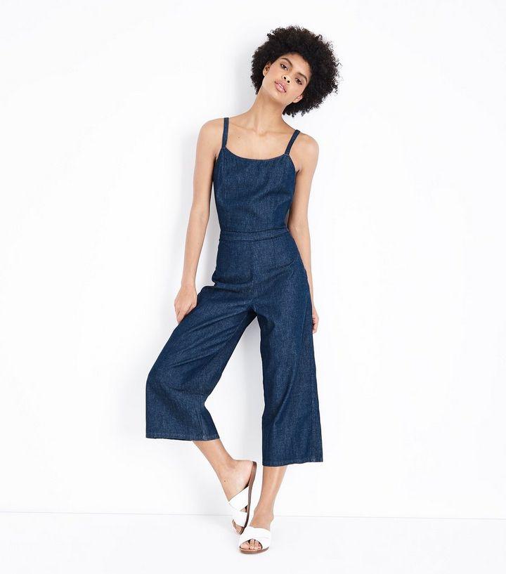 88d571e14e9 Blue Tie Back Lightweight Denim Jumpsuit