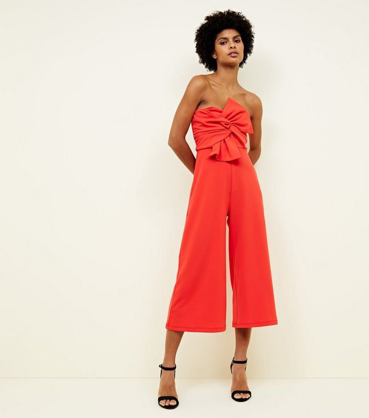 58a58736bf Coral Bow Front Strapless Culotte Jumpsuit