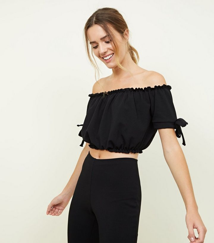 ef797672627d1 Black Tie Sleeve Gathered Bardot Crop Top