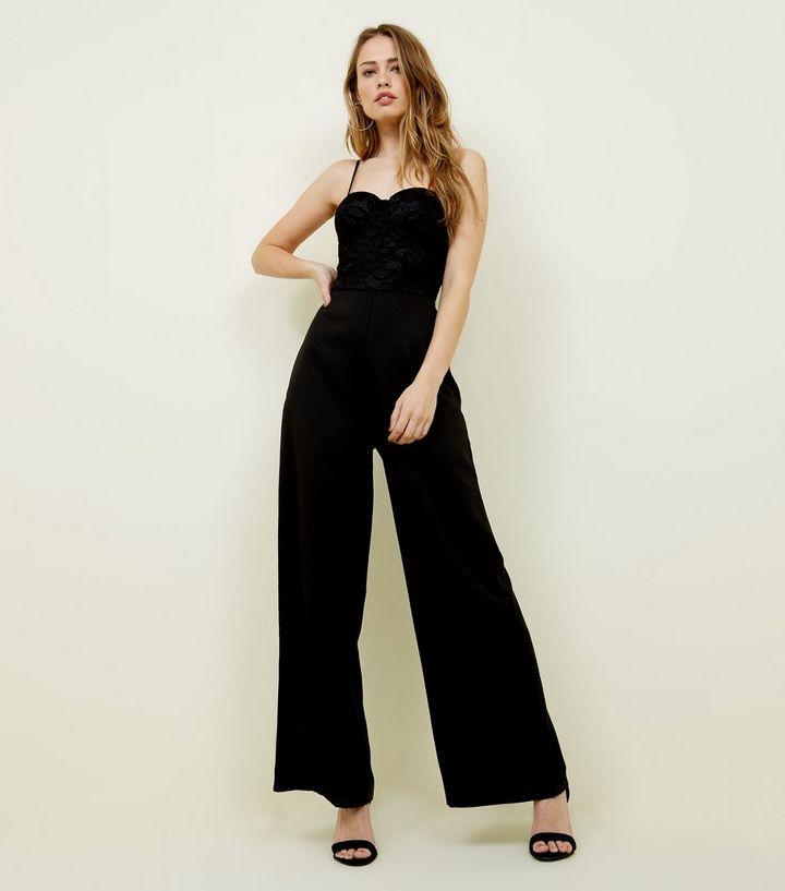 9e44d7c67aa5 Black Lace Bustier Jumpsuit