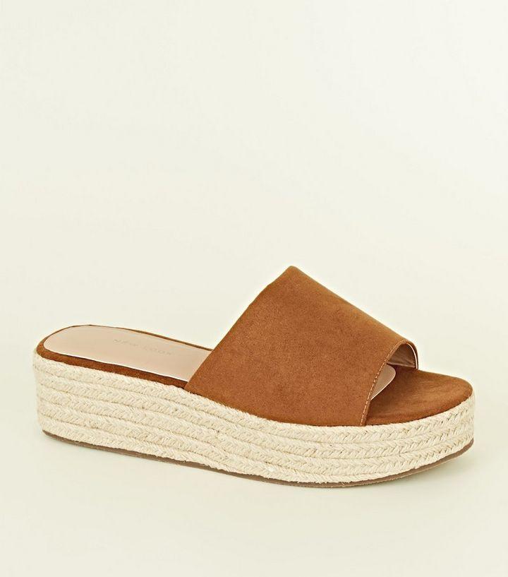 7a5216c7bb29 Tan Suedette Espadrille Flatform Sandals