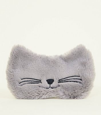 Grey Fluffy Cat Eye Mask