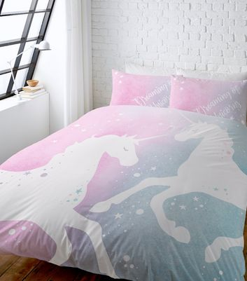 ... Pink Unicorn Print Cotton Double Duvet Set ...